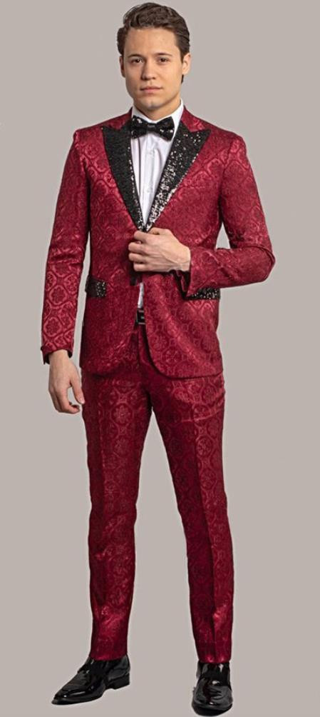 Giovanni Testi Red Tuxedo Suit Jacket And Pants