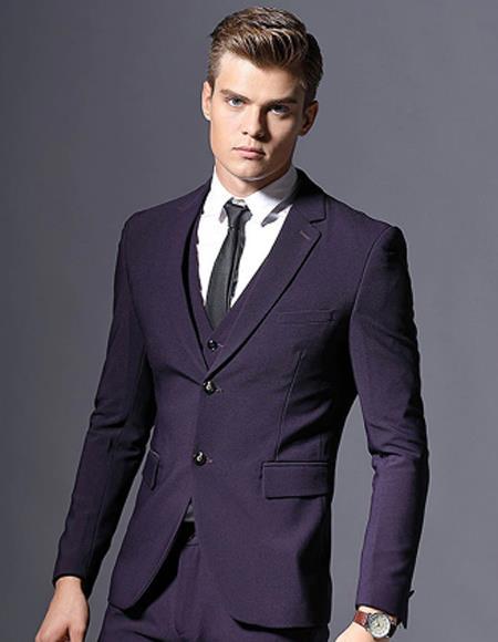 Mens Eggplant ~ Plum ~ Dark Purple ~ Dark Burgundy Mens Slim Fit business Suit