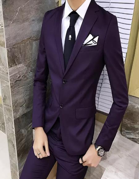 Mens Eggplant ~ Plum ~ Dark Purple ~ Dark Burgundy Slim Fit business Suit
