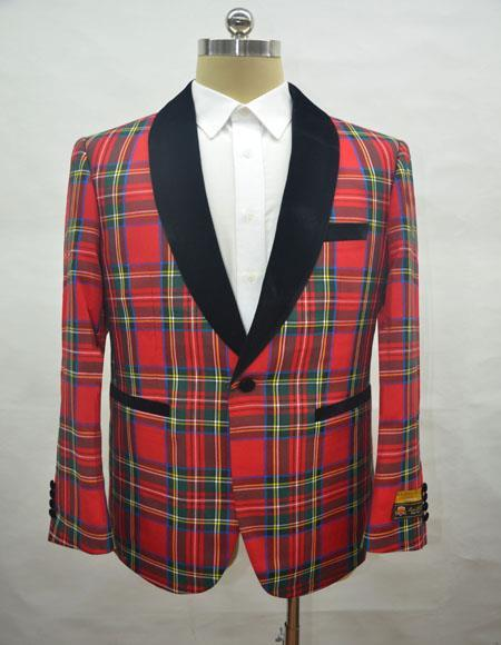 Mens Tartan - Plaid Red Cuff Link One Chest Pocket One Button Shawl Lapel Blazer