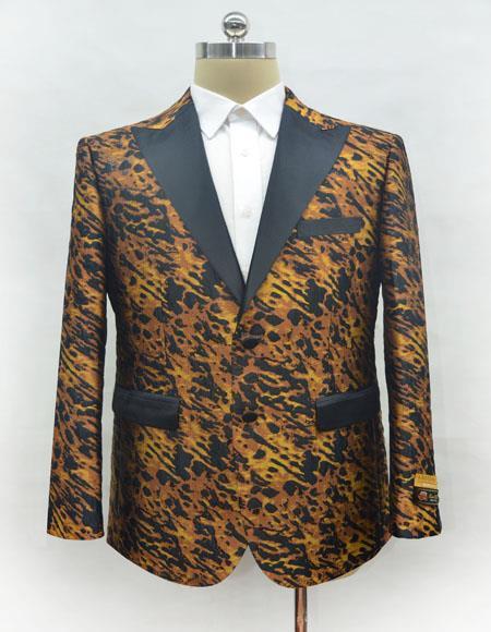 Men's Leopard - Animal Print One Chest Pocket Ostrich looking Two Button Blazer