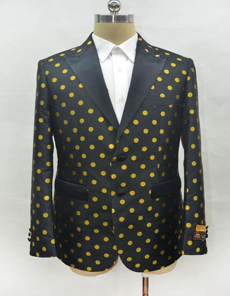 Mens Black and Gold Cuff Link Two Button Cheap Priced Designer Fashion Dress Casual Blazer On Sale Blazer