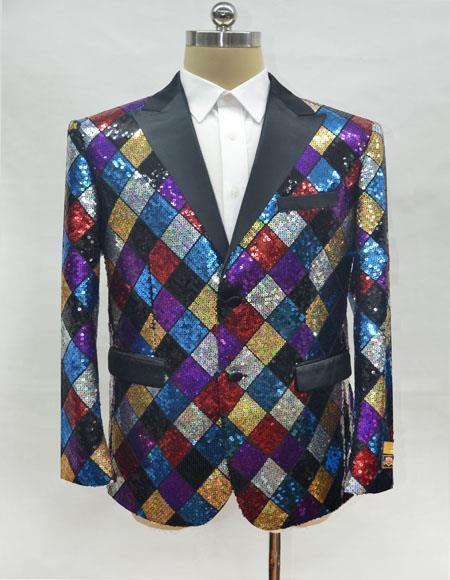 Mens Rainbow Cuff Link Two Button Cheap Priced Designer Fashion Dress Casual Blazer On Sale Blazer