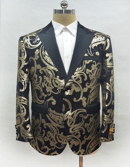 Men's Black and Gold One Chest Pocket Two Button Blazer