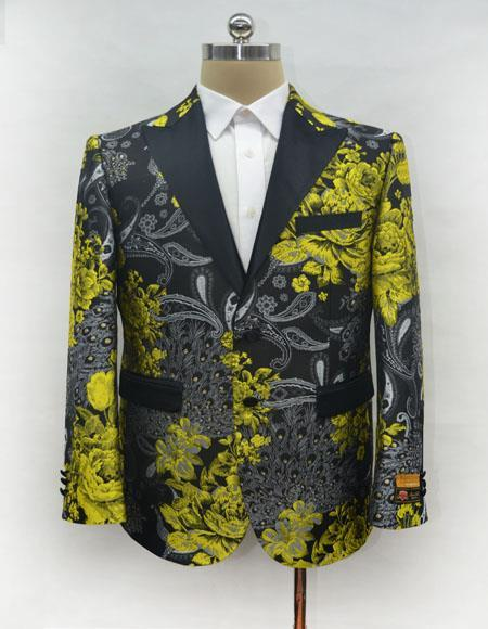 Men's Gold One Chest Pocket Two Button Blazer