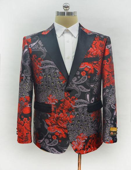 Mens Red One Chest Pocket Two Button Cheap Priced Designer Fashion Dress Casual Blazer On Sale Blazer