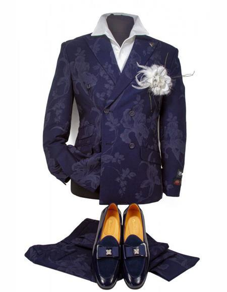 Mens Dark Navy Blue Suit Double Breasted Button Closure
