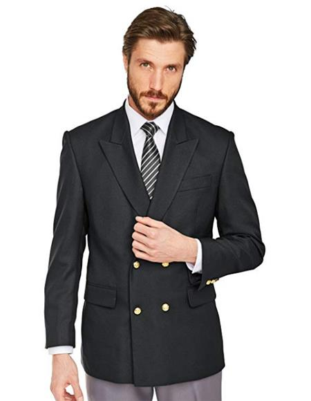 Men's Double Breasted Suits Jacket Blazer with Gold Buttons 100% Wool