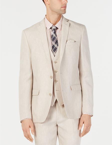 Mens Natural Sand Tan Khaki Linen Vested Suit by Alberto Nardoni