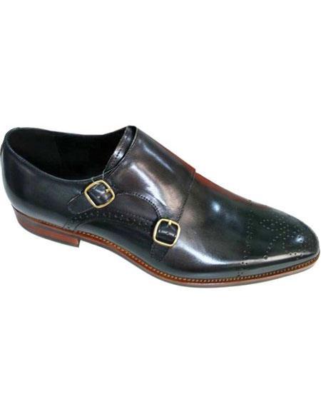 Mens Double Monkstrap Cap Toe Unique Model Premium Leather Brown