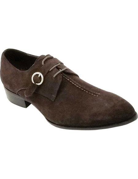 Mens Single Monkstrap Plain Toe Lace Up Buckle Premium Leather Brown