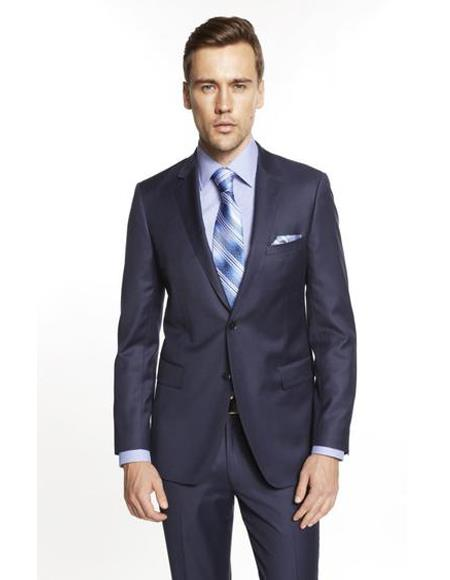 Mens Single Breasted Notch Lapel Solid Indigo ~ Bright Blue Suit