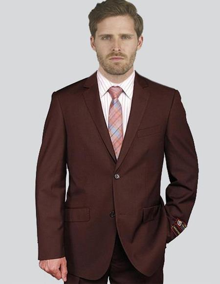 Men's Solid Brown Suit
