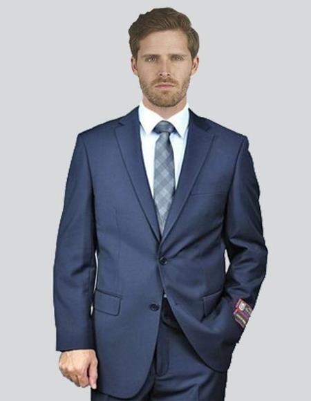 Mens Single Breasted Notch Lapel Solid Dark Navy Suit
