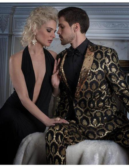 Mens Black ~ Gold Seamless Damask Pattern Slim Fit Center Vent Suit