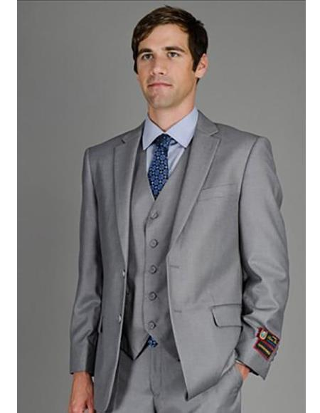 Mens Solid Grey Suit
