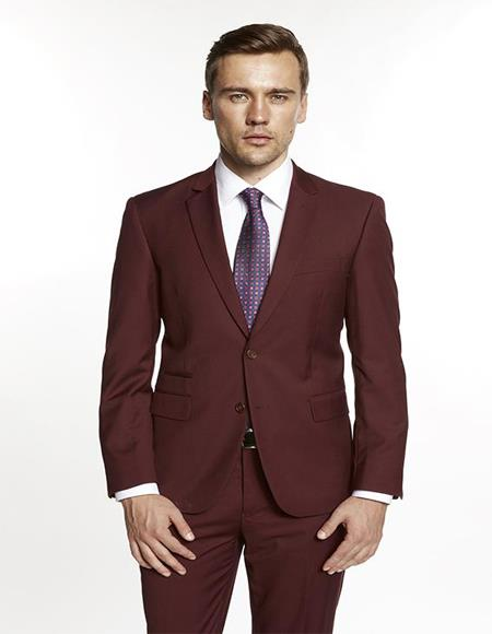 Mens Single Breasted Notch Lapel Solid Burgundy Suit