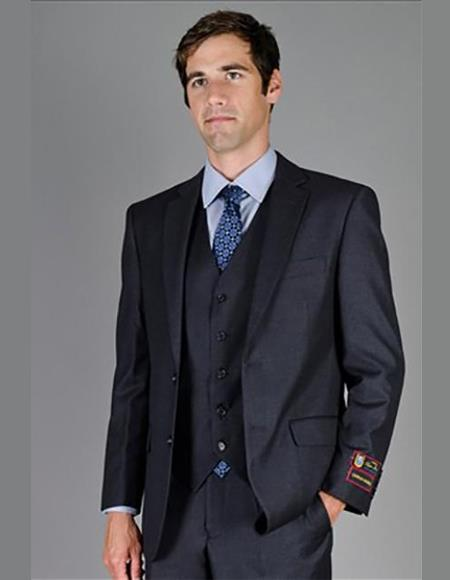 Mens Single Breasted Notch Lapel Solid Charcoal Suit