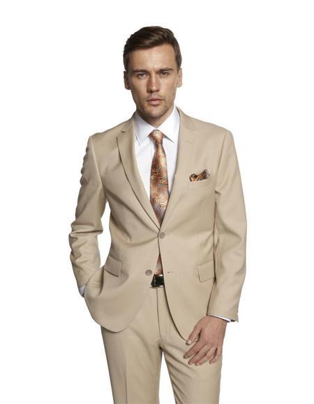 Men's Solid Beige Suit