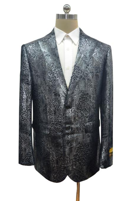 Alligator Print Crocodile Gator Snake Skin Jacket Coat Ostrich Looking Big And Tall Men's Blazer Sport Coat Black ~ Dark Silver