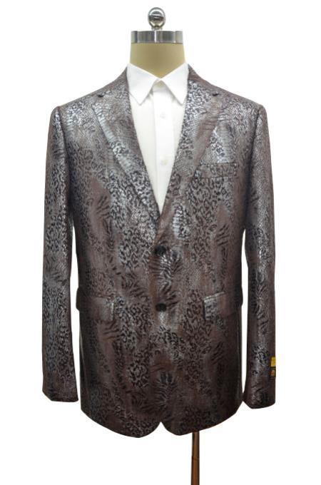 Mens Black ~Brown Two Button Alligator Jacket
