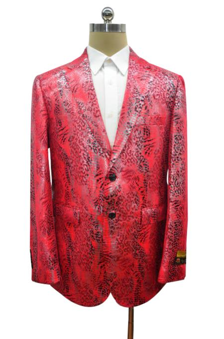 Mens Red Two Button Single Breasted Alligator Jacket