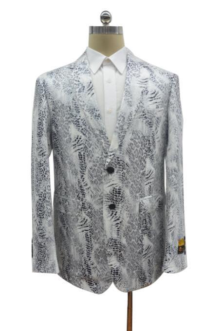 Mens White ~ Light Black Two Button Alligator Jacket