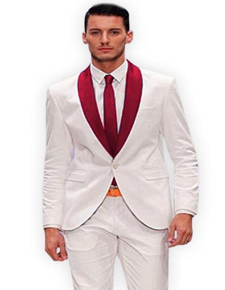 Men's White and Burgundy Tuxedo Suit Vested Three Piece Burgundy Suit