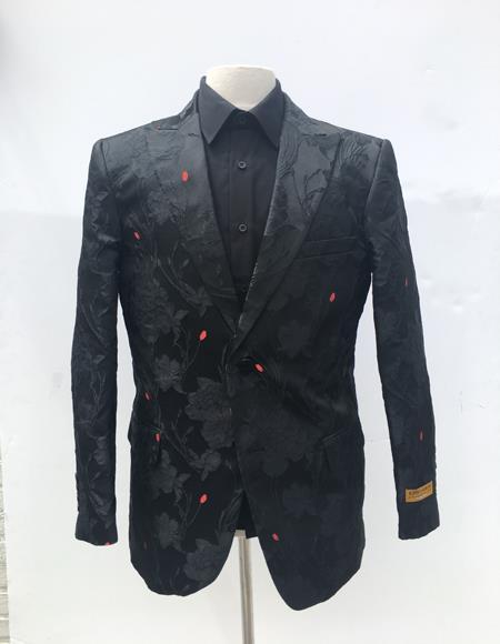 Floral themed full black 1 button peak lapel 1 chest pocket tuxedo suit for men