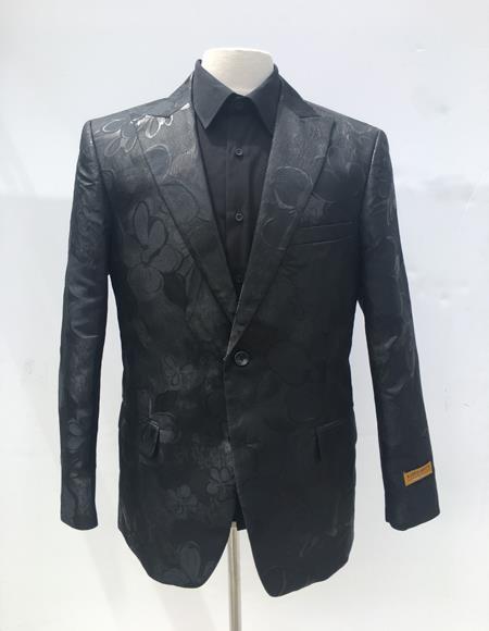 Men's Black Flap Front Pockets One Button Cheap Priced Designer Fashion Dress Casual Blazer On Sale Blazer