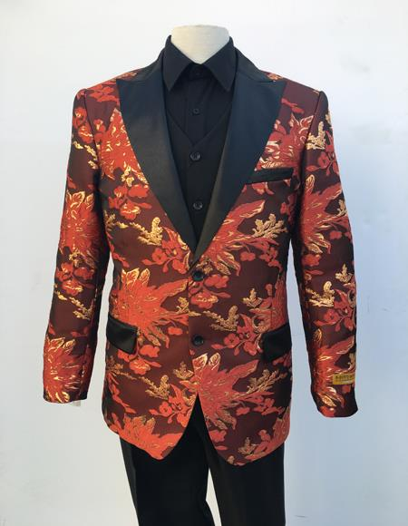 Men's Red and Gold Floral Pattern Flap Front Pockets Two Button Blazer