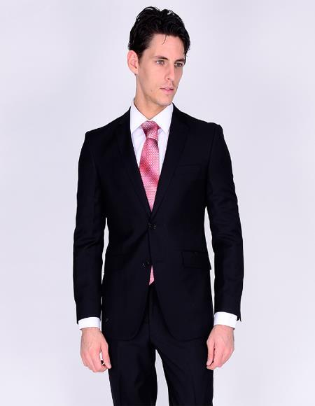 Bertolini Silk & Wool Fabric Suit Black