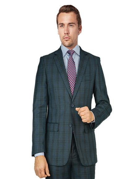 Bertolini Silk & Wool Fabric Suit Blue Gray Windowpane
