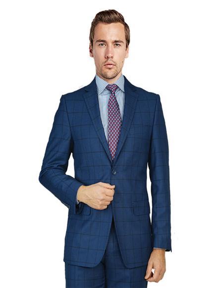 Mens Blue Birdseye Windowpane Two Button Single Breasted suit