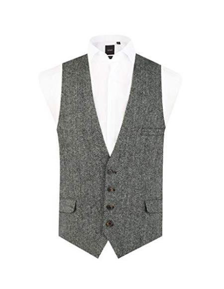 Mens Black and Grey Vest Regular Fit 100% Wool Low Cut Waistcoat
