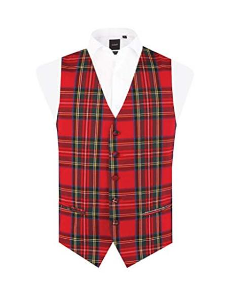 Men's Red Tartan - Plaid Vest Regular Fit 5 Button Waistcoat