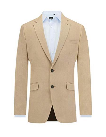 Men's Sand Linen 2 Piece Suit Slim Fit