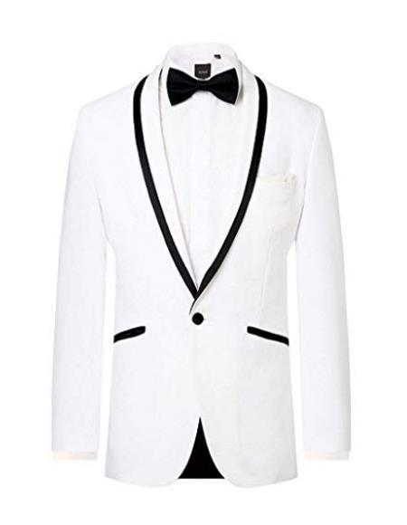 Mens White Tuxedo Jacket Regular Fit Shawl Lapel Black Tipping