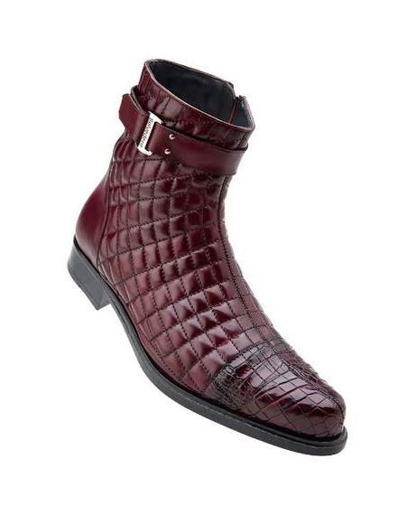 Belvedere Libero Mens Wine Alligator Trim Quilt Boots