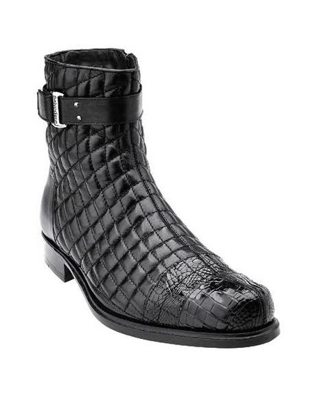 Belvedere Libero Mens Black Alligator Trim Quilt Boots