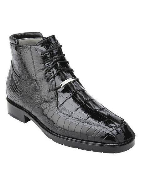 Belvedere Mens Black Hornback Crocodile Ostrich Boots Barone