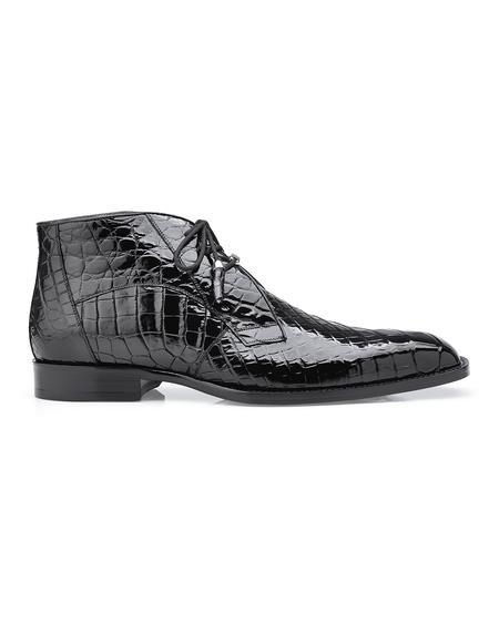 Belvedere Mens Black Alligator Dress Boots Stefano