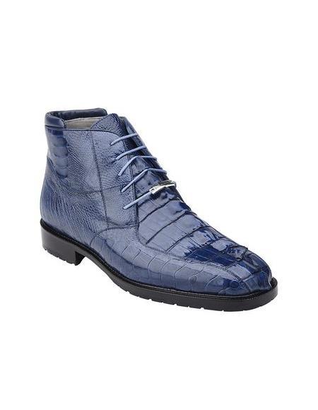 Authentic Genuine Skin Italian Mens Blue Hornback Crocodile Ostrich Boots Barone
