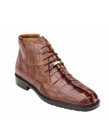 Authentic Genuine Skin Italian Mens Brandy Hornback Crocodile Ostrich Boots Barone