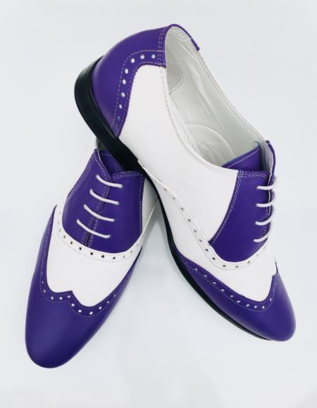 Mens Blue Leather Wing Tip Oxford Lace up Shoe