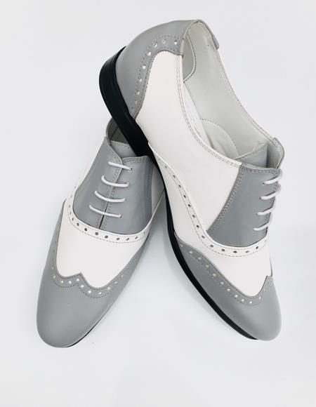Mens Leather Ash Grey Wing Tip Oxford Lace up Shoe
