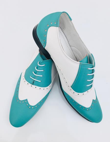 Wingtip Dress Lace uP Oxford Shoe Bright Sky Blue