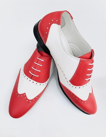 Mens Red Shoe Alberto Nardoni Leather Wing Tip - Red Mens Prom Shoe