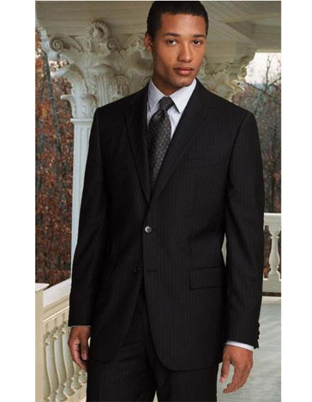 Athletic Cut Classic Suits Men's suit  Classic Relax Fit Pleated Pants 19 Inch Bottom Black