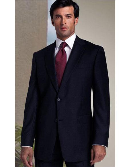 Athletic Cut Classic Suits Mens suit  Classic Relax Fit Pleated Pants 19 Inch Bottom Dark Navy